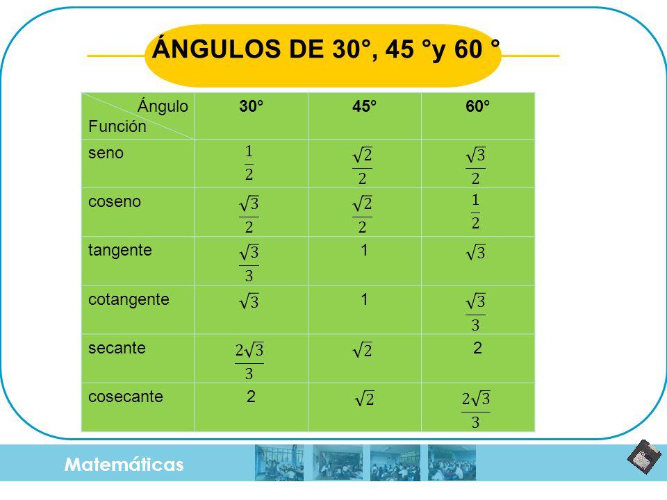 Matemáticas ÁNGULOS DE 30°, 45 °y 60 ° Ángulo Función 30°45°60° seno coseno tangente1 cotangente1 secante2 cosecante2