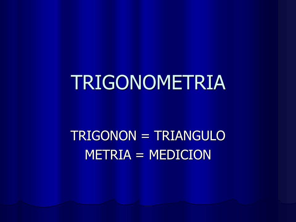 TRIGONOMETRIA TRIGONON = TRIANGULO METRIA = MEDICION