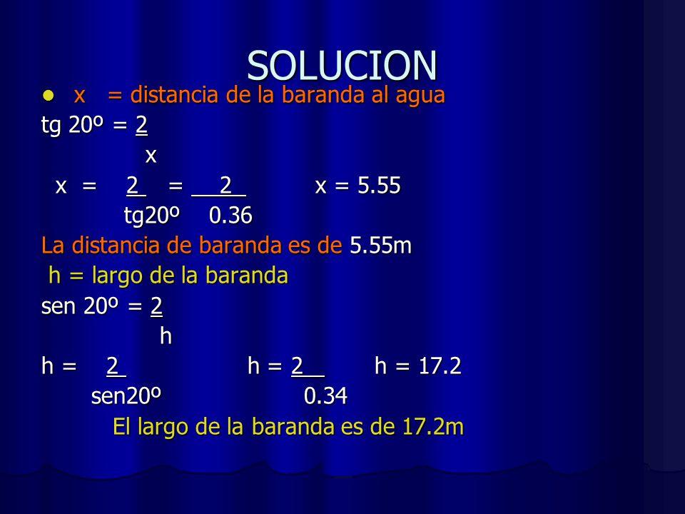SOLUCION x = distancia de la baranda al agua x = distancia de la baranda al agua tg 20º = 2 x x x = 2 = 2 x = 5.55 x = 2 = 2 x = 5.55 tg20º 0.36 tg20º 0.36 La distancia de baranda es de 5.55m h = largo de la baranda h = largo de la baranda sen 20º = 2 h h = 2 h = 2 h = 17.2 sen20º 0.34 sen20º 0.34 El largo de la baranda es de 17.2m El largo de la baranda es de 17.2m