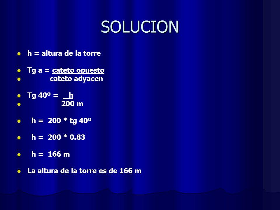 SOLUCION h = altura de la torre Tg a = cateto opuesto cateto adyacen Tg 40º = h 200 m h = 200 * tg 40º h = 200 * 0.83 h = 166 m La altura de la torre es de 166 m