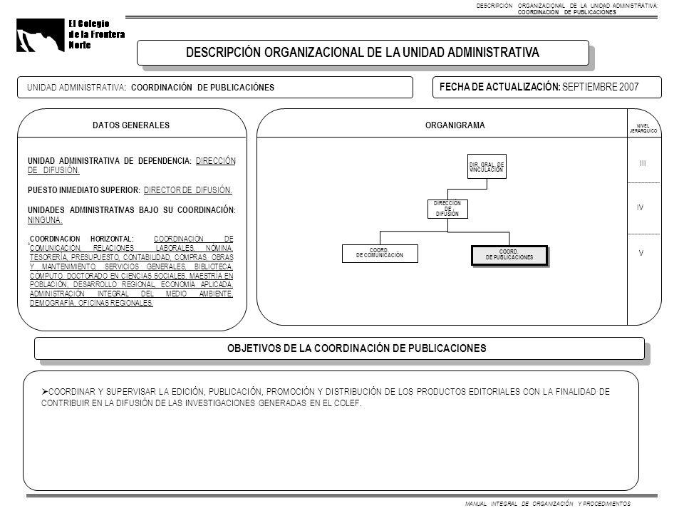 DATOS GENERALES UNIDAD ADMINISTRATIVA DE DEPENDENCIA: DIRECCIÓN DE DIFUSIÓN.