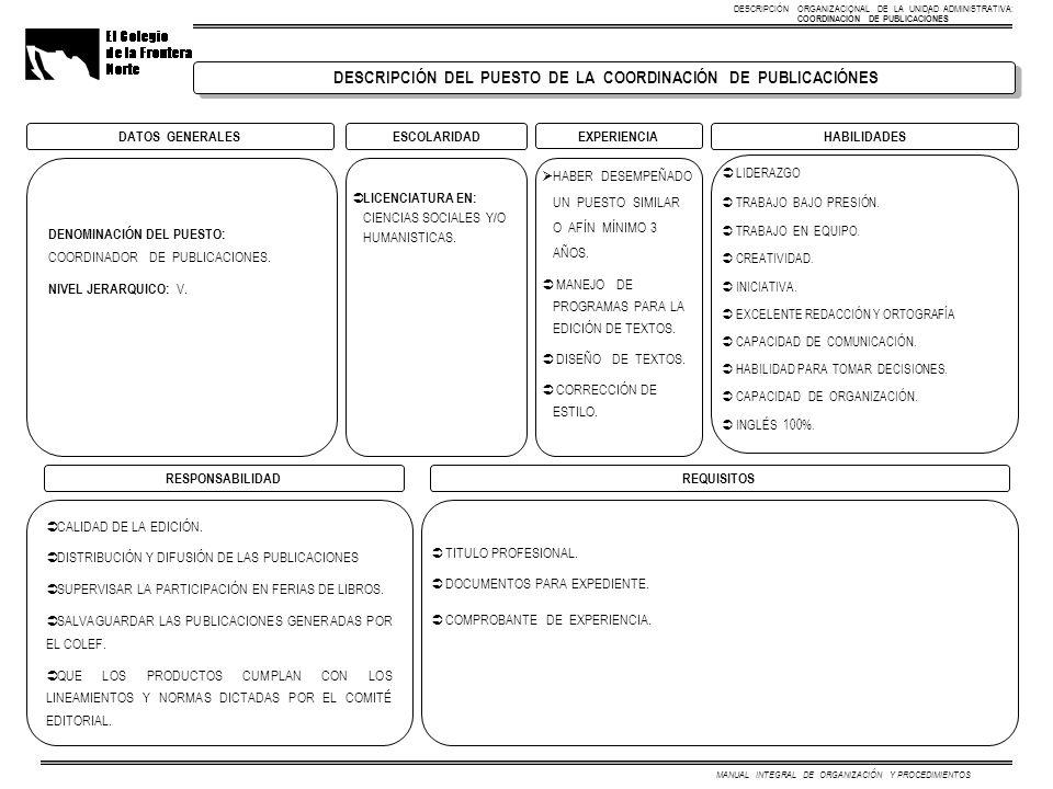 DESCRIPCIÓN DEL PUESTO DE LA COORDINACIÓN DE PUBLICACIÓNES DATOS GENERALESESCOLARIDADHABILIDADES EXPERIENCIA DENOMINACIÓN DEL PUESTO: COORDINADOR DE PUBLICACIONES.