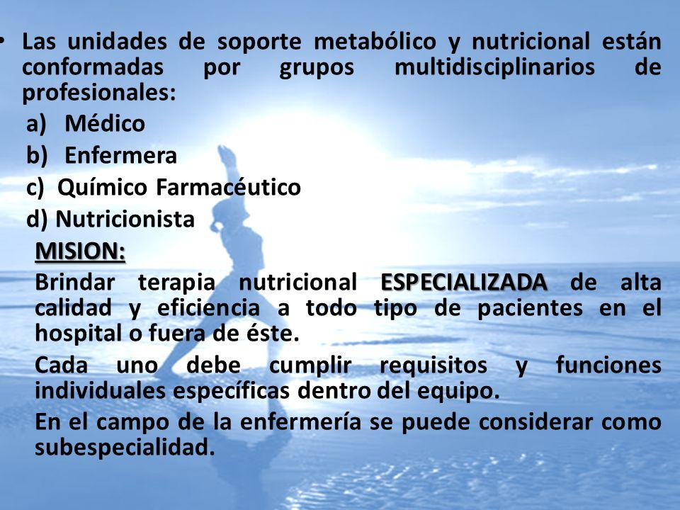 Las unidades de soporte metabólico y nutricional están conformadas por grupos multidisciplinarios de profesionales: a)Médico b)Enfermera c) Químico Fa