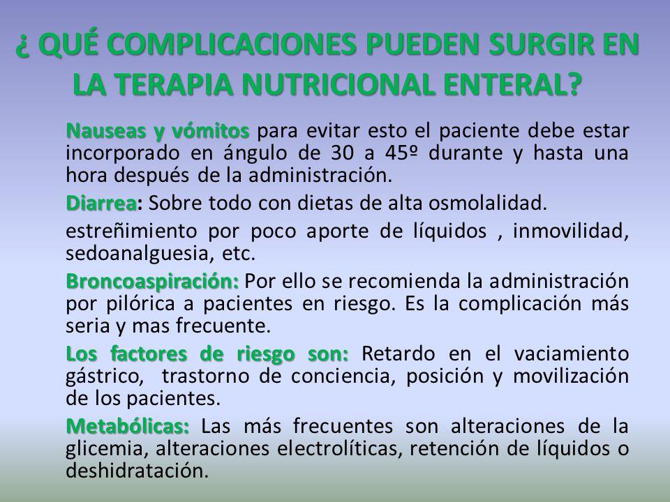¿ QUÉ COMPLICACIONES PUEDEN SURGIR EN LA TERAPIA NUTRICIONAL ENTERAL? Nauseasyvómitos Nauseas y vómitos para evitar esto el paciente debe estar incorp