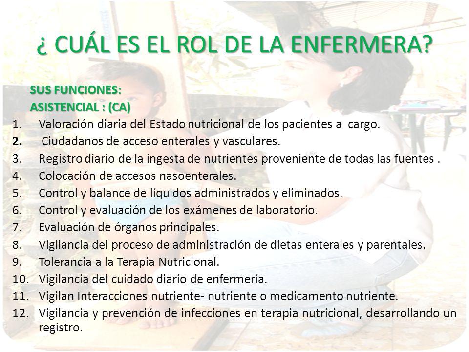 ¿ CUÁL ES EL ROL DE LA ENFERMERA? SUS FUNCIONES: ASISTENCIAL : (CA) 1.Valoración diaria del Estado nutricional de los pacientes a cargo. 2. Ciudadanos