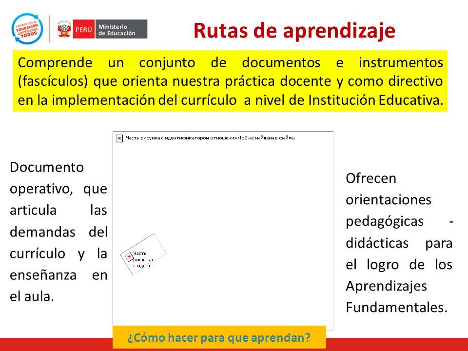 Rutas de aprendizaje Comprende un conjunto de documentos e instrumentos (fascículos) que orienta nuestra práctica docente y como directivo en la implementación del currículo a nivel de Institución Educativa.