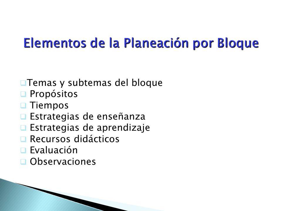 Elementos de la Planeación por Bloque  Temas y subtemas del bloque  Propósitos  Tiempos  Estrategias de enseñanza  Estrategias de aprendizaje  Recursos didácticos  Evaluación  Observaciones