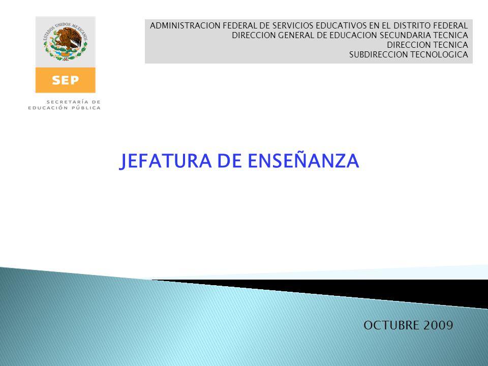 ADMINISTRACION FEDERAL DE SERVICIOS EDUCATIVOS EN EL DISTRITO FEDERAL DIRECCION GENERAL DE EDUCACION SECUNDARIA TECNICA DIRECCION TECNICA SUBDIRECCION TECNOLOGICA JEFATURA DE ENSEÑANZA OCTUBRE 2009