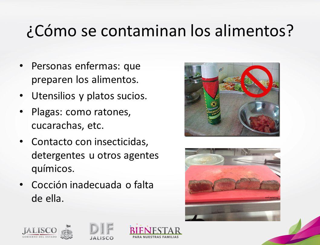 Personas enfermas: que preparen los alimentos.Utensilios y platos sucios.
