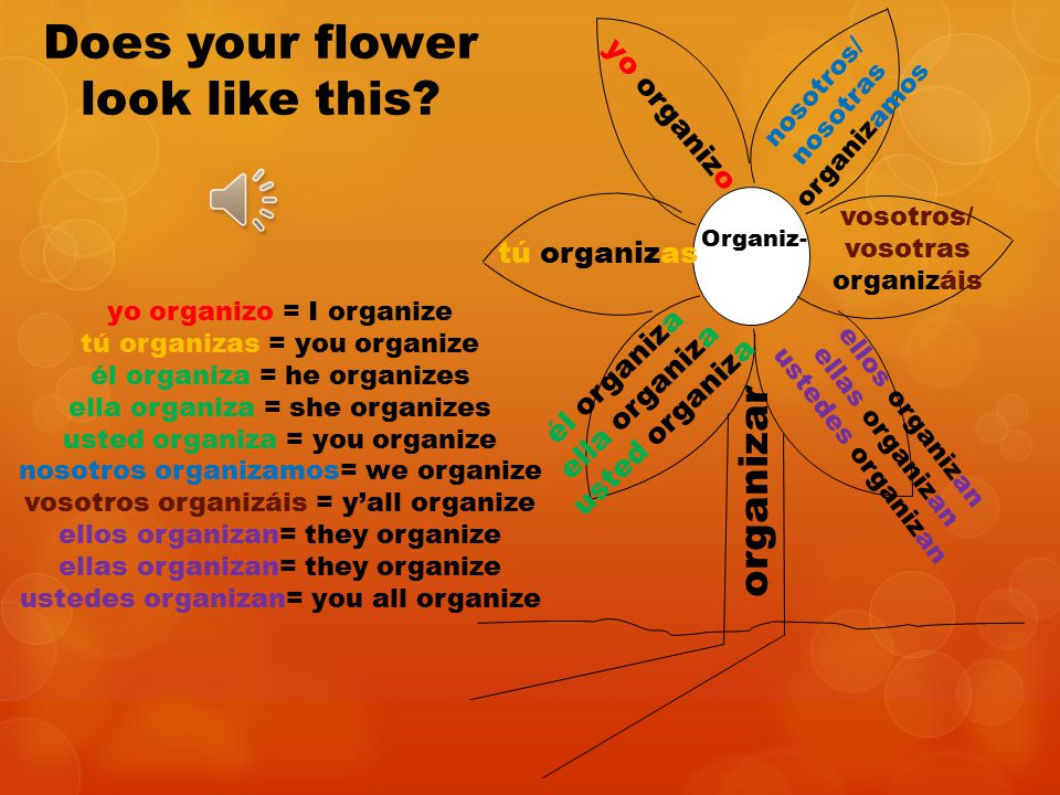 yo tú él ella usted nosotros/ nosotras vosotros/ vosotras ellos ellas ustedes Now try conjugating organizar.