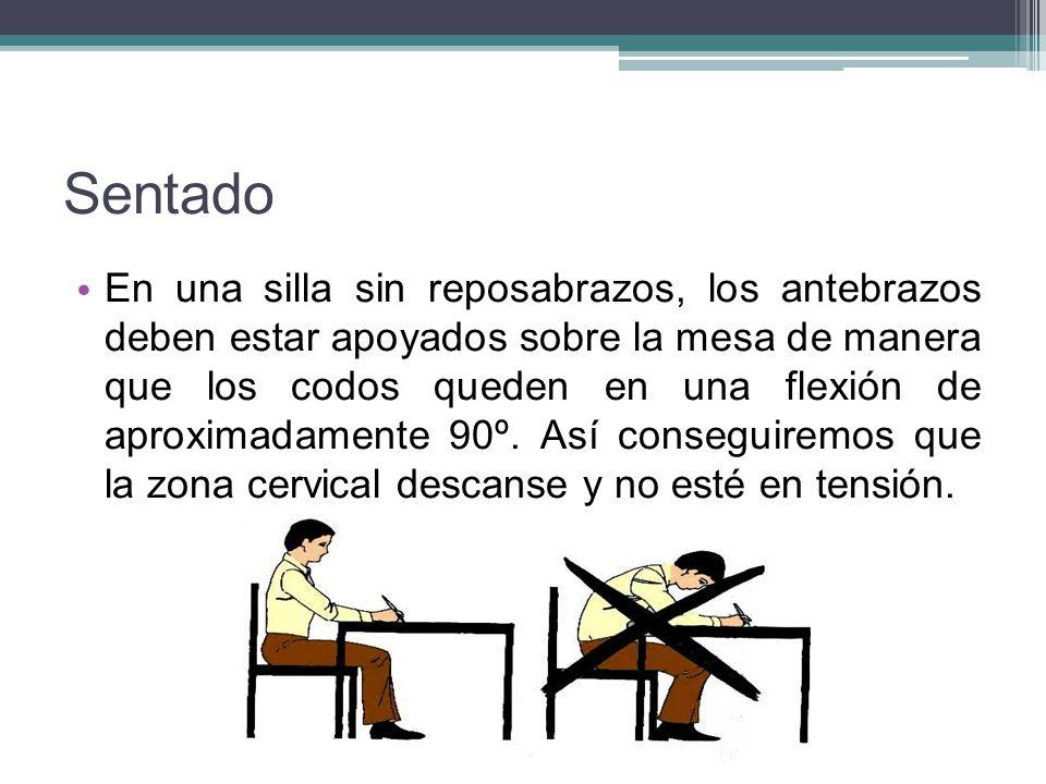 Sentado En una silla sin reposabrazos, los antebrazos deben estar apoyados sobre la mesa de manera que los codos queden en una flexión de aproximadame