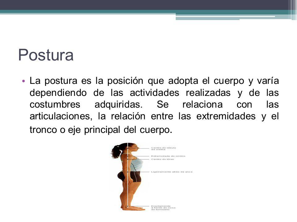 Postura La postura es la posición que adopta el cuerpo y varía dependiendo de las actividades realizadas y de las costumbres adquiridas. Se relaciona