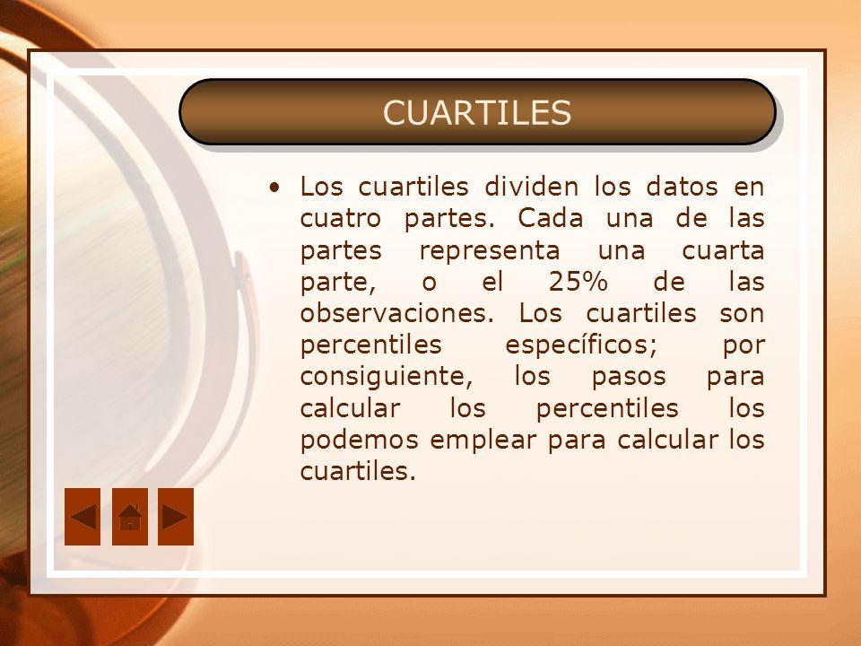 Los cuartiles dividen los datos en cuatro partes. Cada una de las partes representa una cuarta parte, o el 25% de las observaciones. Los cuartiles son