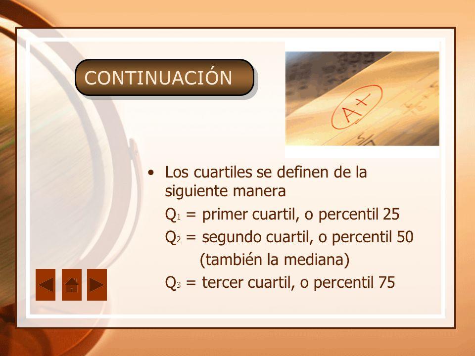 Los cuartiles se definen de la siguiente manera Q 1 = primer cuartil, o percentil 25 Q 2 = segundo cuartil, o percentil 50 (también la mediana) Q 3 =