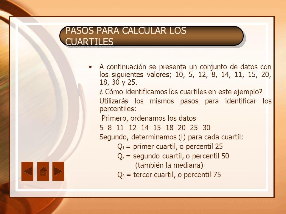 PASOS PARA CALCULAR LOS CUARTILES A continuación se presenta un conjunto de datos con los siguientes valores; 10, 5, 12, 8, 14, 11, 15, 20, 18, 30 y 2