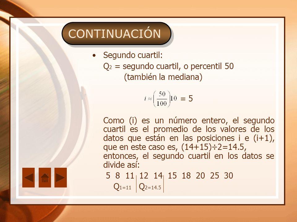 CONTINUACIÓN Segundo cuartil: Q 2 = segundo cuartil, o percentil 50 (también la mediana) = 5 Como (i) es un número entero, el segundo cuartil es el pr