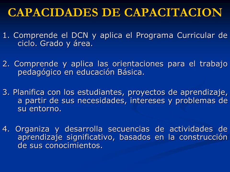 CAPACIDADES DE CAPACITACION 1. Comprende el DCN y aplica el Programa Curricular de ciclo.