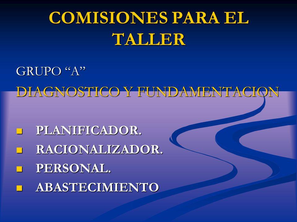 COMISIONES PARA EL TALLER GRUPO A DIAGNOSTICO Y FUNDAMENTACION PLANIFICADOR.