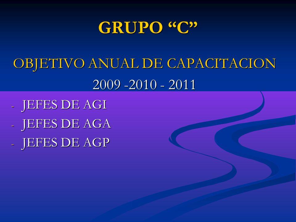 GRUPO C OBJETIVO ANUAL DE CAPACITACION 2009 -2010 - 2011 - JEFES DE AGI - JEFES DE AGA - JEFES DE AGP