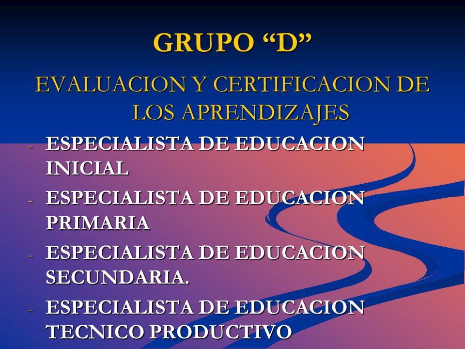 GRUPO D EVALUACION Y CERTIFICACION DE LOS APRENDIZAJES - ESPECIALISTA DE EDUCACION INICIAL - ESPECIALISTA DE EDUCACION PRIMARIA - ESPECIALISTA DE EDUCACION SECUNDARIA.