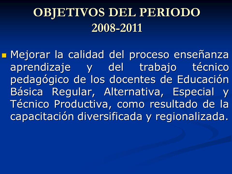 OBJETIVOS DEL PERIODO 2008-2011 Mejorar la calidad del proceso enseñanza aprendizaje y del trabajo técnico pedagógico de los docentes de Educación Básica Regular, Alternativa, Especial y Técnico Productiva, como resultado de la capacitación diversificada y regionalizada.