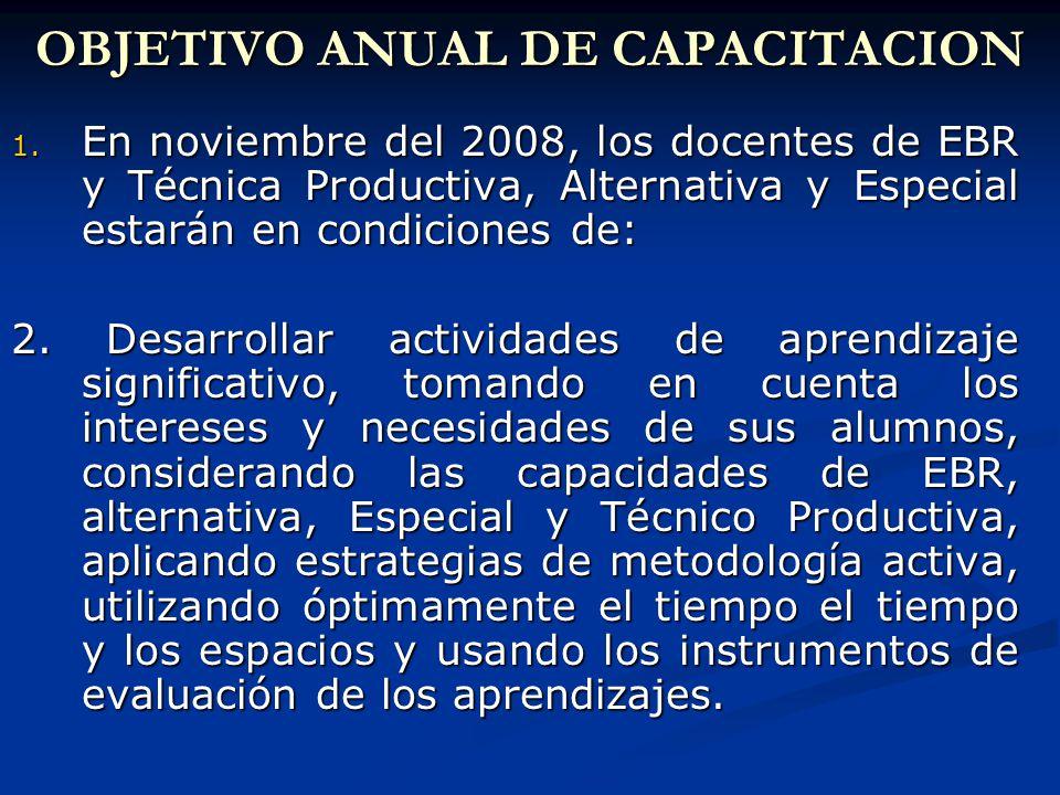 OBJETIVO ANUAL DE CAPACITACION 1.