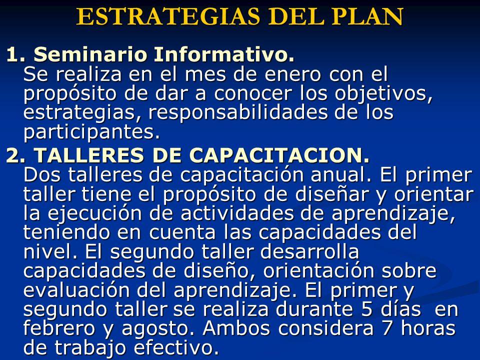 ESTRATEGIAS DEL PLAN 1. Seminario Informativo.