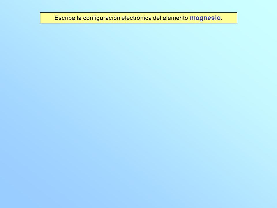 Escribe la configuración electrónica del elemento magnesio.