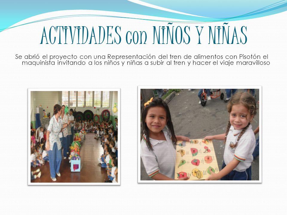 ACTIVIDADES con NIÑOS Y NIÑAS Se abrió el proyecto con una Representación del tren de alimentos con Pisotón el maquinista invitando a los niños y niñas a subir al tren y hacer el viaje maravilloso