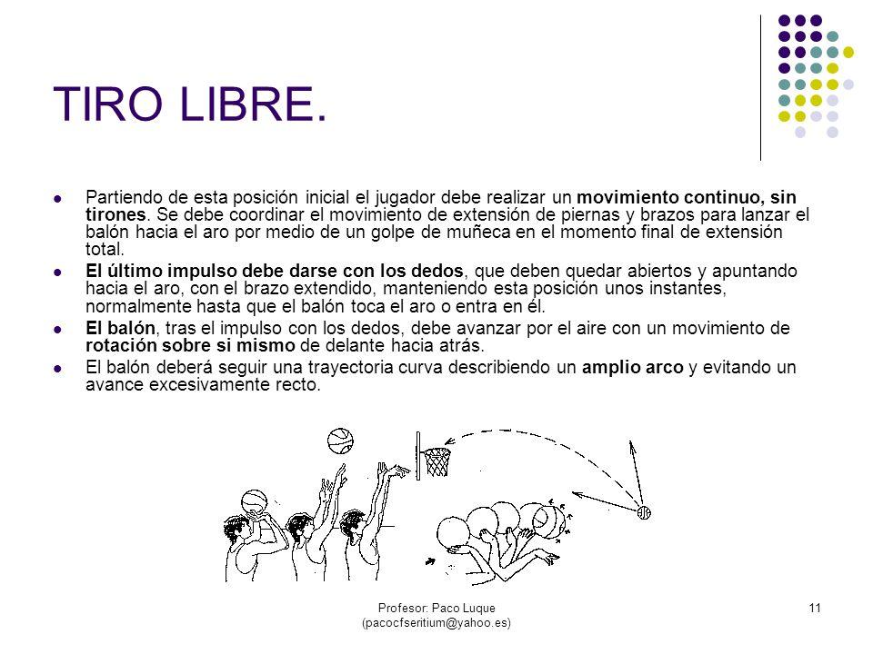 Profesor: Paco Luque (pacocfseritium@yahoo.es) 11 TIRO LIBRE.