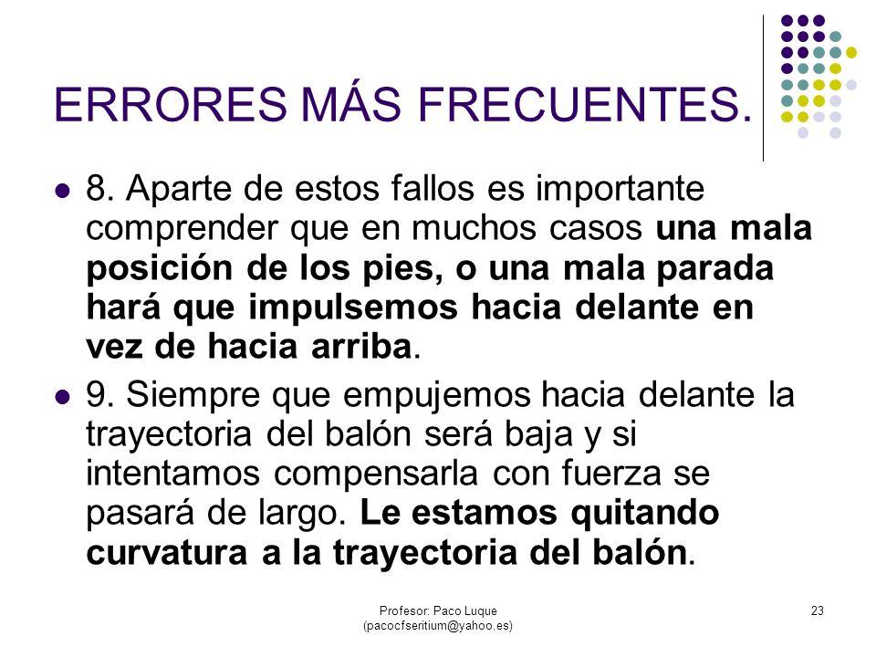 Profesor: Paco Luque (pacocfseritium@yahoo.es) 23 ERRORES MÁS FRECUENTES.