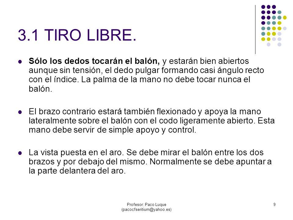 Profesor: Paco Luque (pacocfseritium@yahoo.es) 10 TIRO LIBRE.