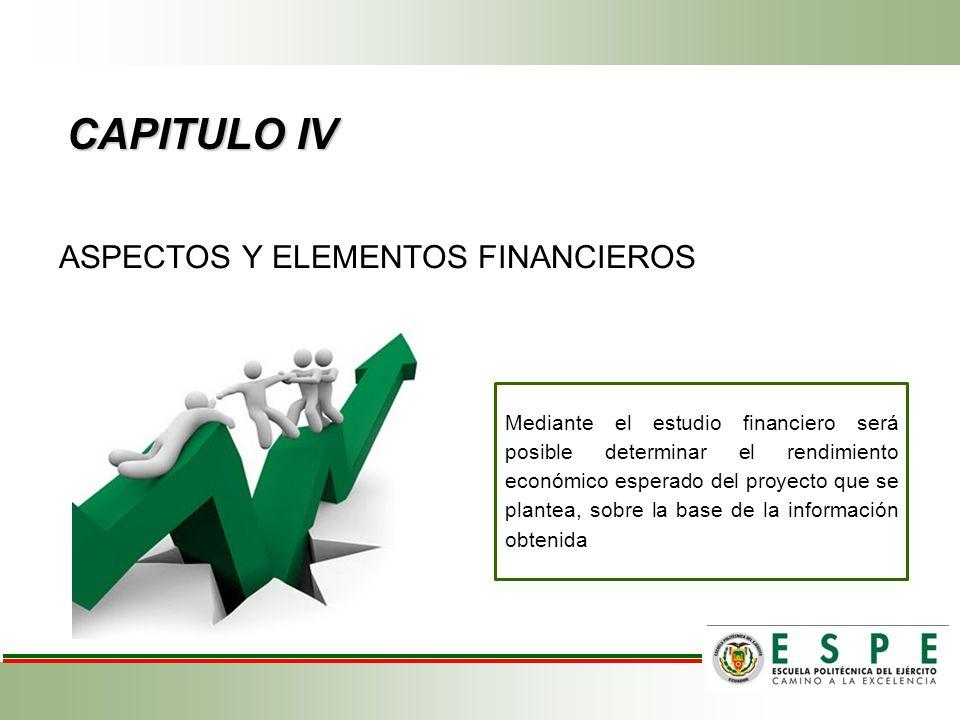 CAPITULO IV ASPECTOS Y ELEMENTOS FINANCIEROS Mediante el estudio financiero será posible determinar el rendimiento económico esperado del proyecto que se plantea, sobre la base de la información obtenida