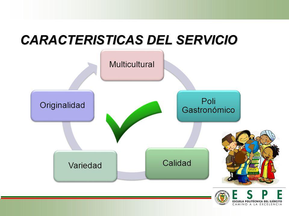 CARACTERISTICAS DEL SERVICIO Multicultural Poli Gastronómico CalidadVariedadOriginalidad