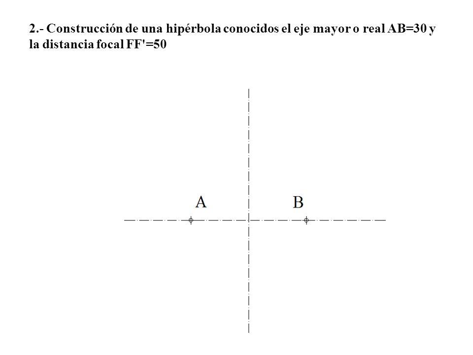 2.- Construcción de una hipérbola conocidos el eje mayor o real AB=30 y la distancia focal FF =50