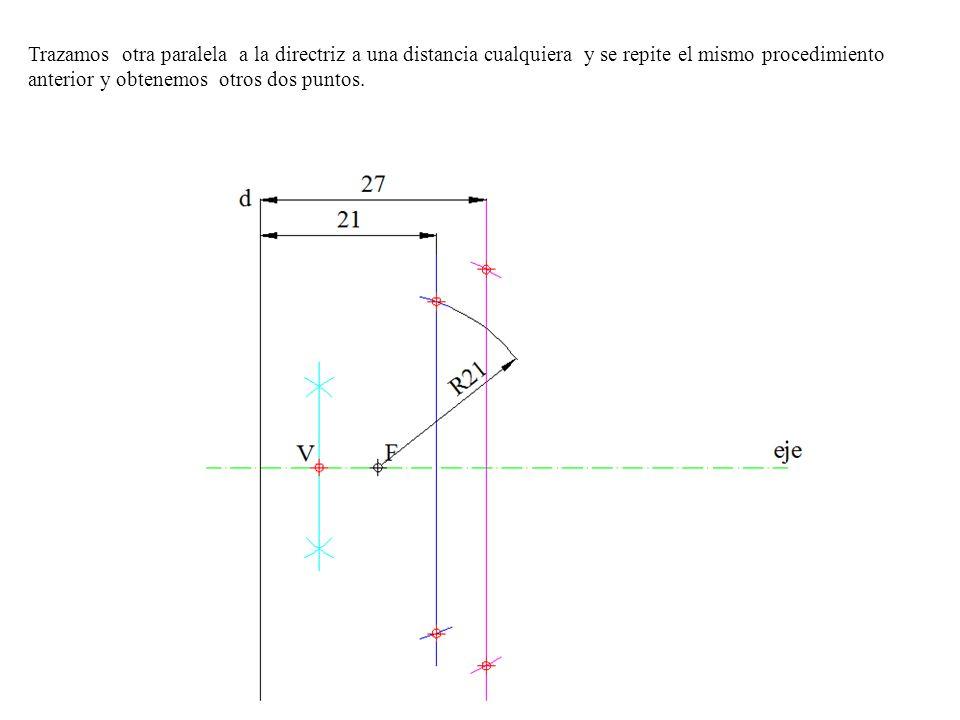 Trazamos otra paralela a la directriz a una distancia cualquiera y se repite el mismo procedimiento anterior y obtenemos otros dos puntos.
