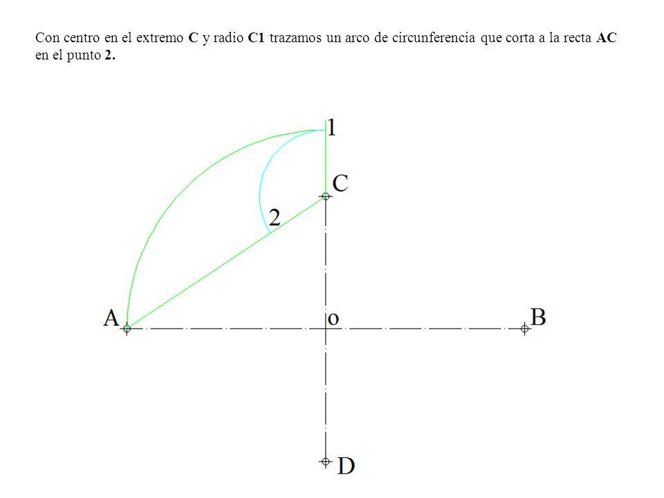 Con centro en el extremo C y radio C1 trazamos un arco de circunferencia que corta a la recta AC en el punto 2.