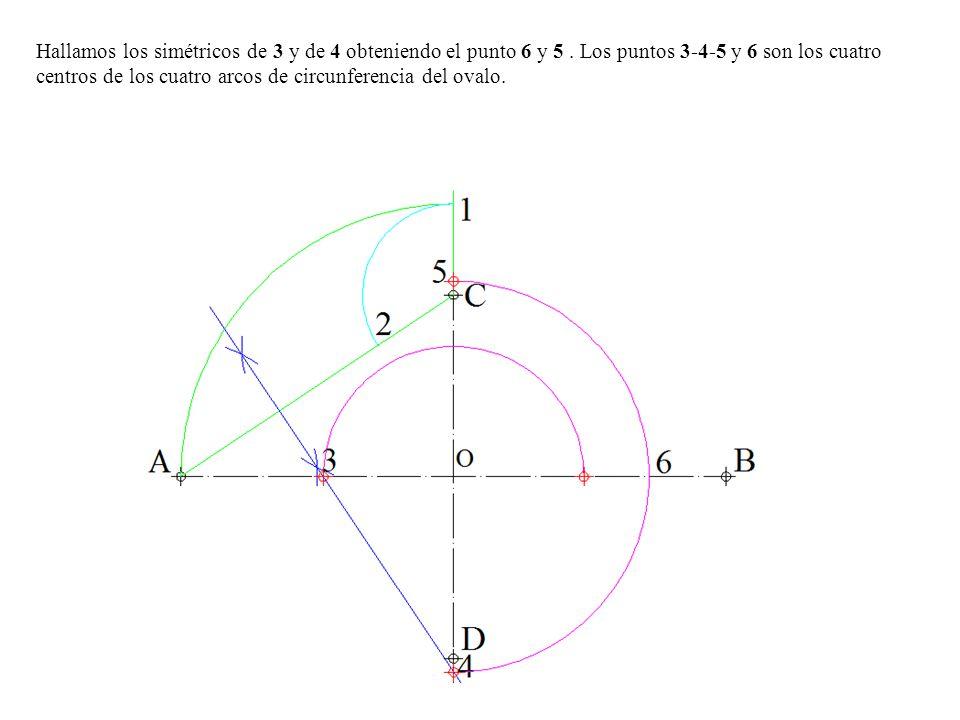Hallamos los simétricos de 3 y de 4 obteniendo el punto 6 y 5.