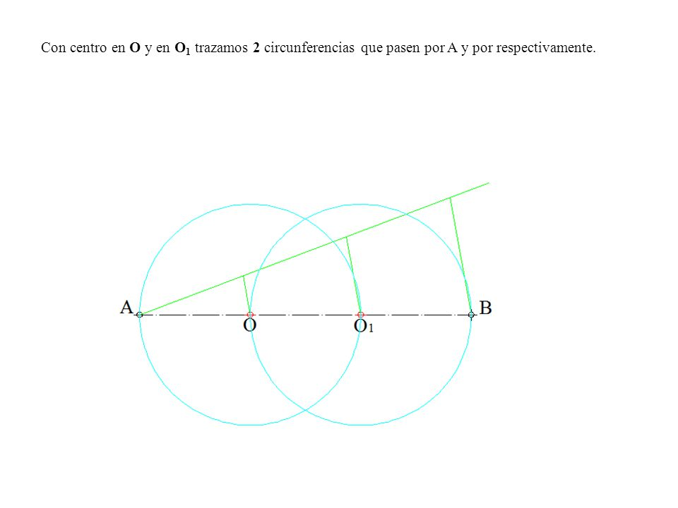 Con centro en O y en O 1 trazamos 2 circunferencias que pasen por A y por respectivamente.
