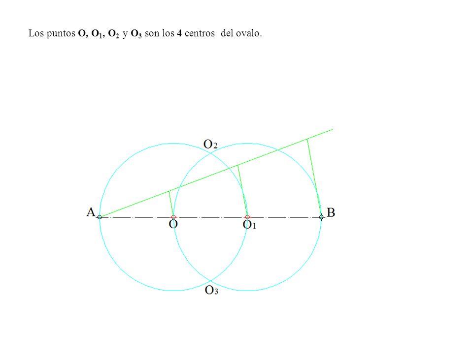 Los puntos O, O 1, O 2 y O 3 son los 4 centros del ovalo.