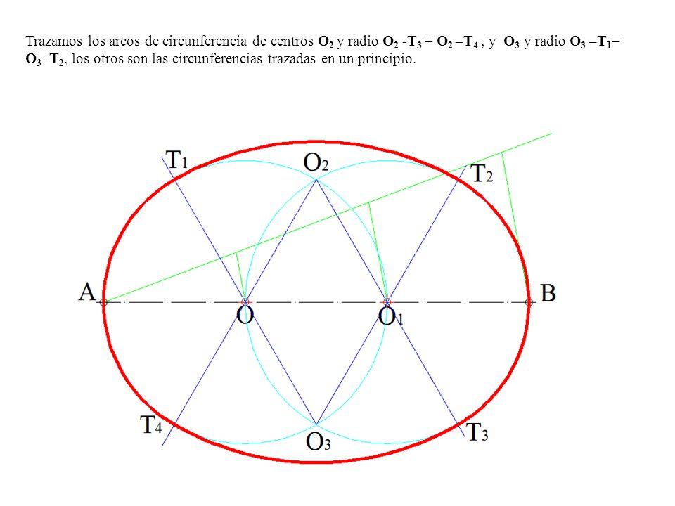 Trazamos los arcos de circunferencia de centros O 2 y radio O 2 -T 3 = O 2 –T 4, y O 3 y radio O 3 –T 1 = O 3 –T 2, los otros son las circunferencias trazadas en un principio.