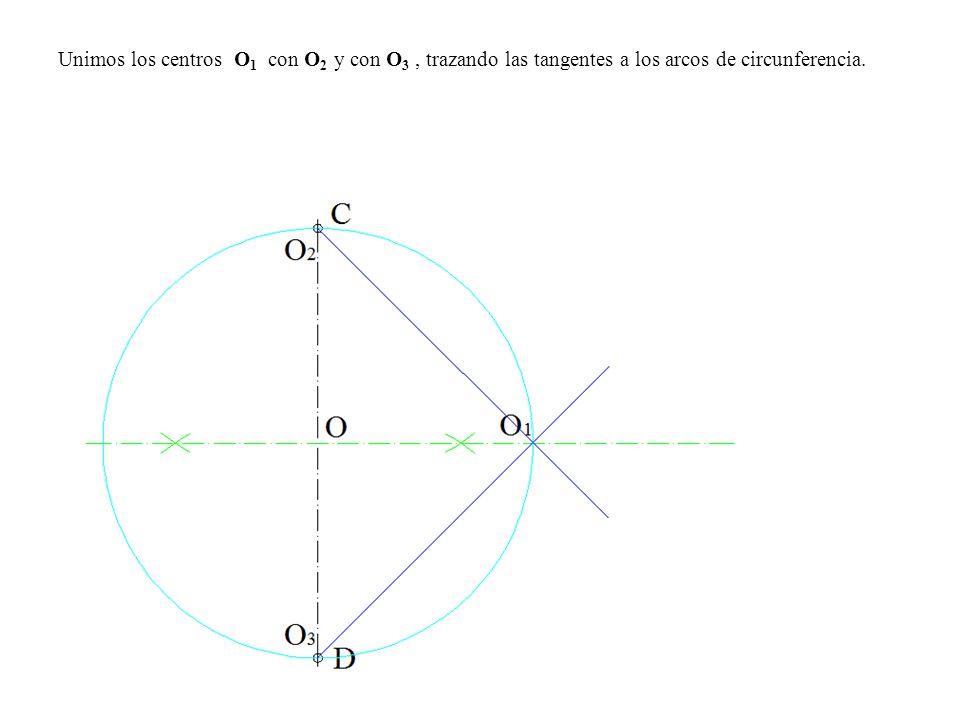 Unimos los centros O 1 con O 2 y con O 3, trazando las tangentes a los arcos de circunferencia.
