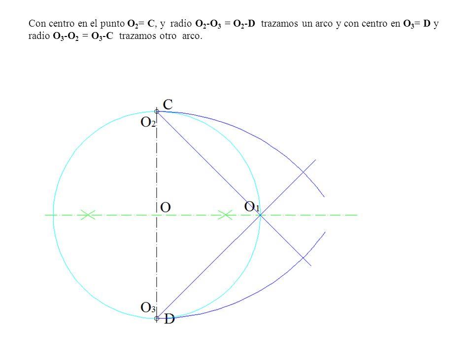 Con centro en el punto O 2 = C, y radio O 2 -O 3 = O 2 -D trazamos un arco y con centro en O 3 = D y radio O 3 -O 2 = O 3 -C trazamos otro arco.