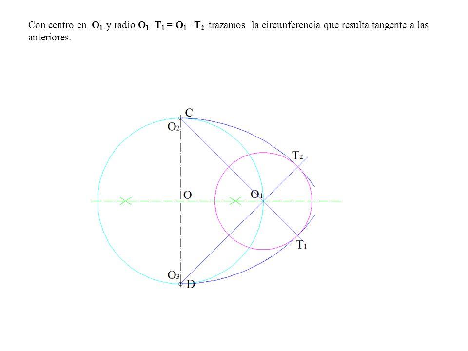 Con centro en O 1 y radio O 1 -T 1 = O 1 –T 2 trazamos la circunferencia que resulta tangente a las anteriores.