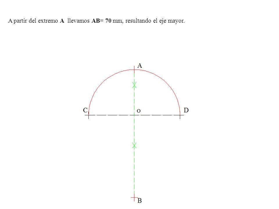 A partir del extremo A llevamos AB= 70 mm, resultando el eje mayor.