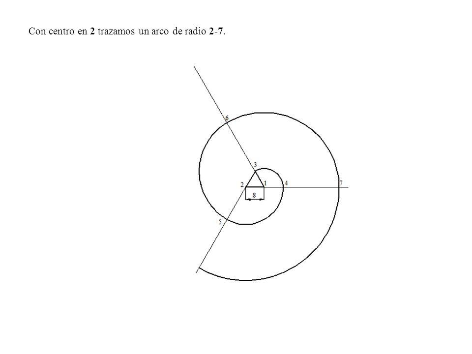Con centro en 2 trazamos un arco de radio 2-7.