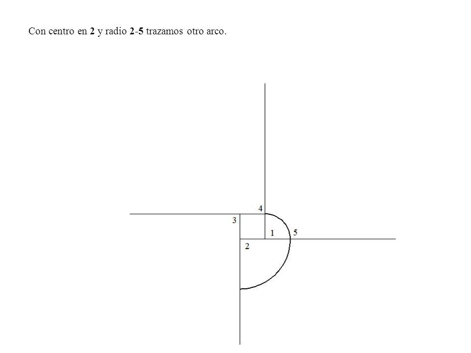 Con centro en 2 y radio 2-5 trazamos otro arco.