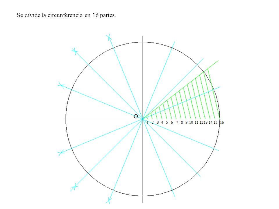 Se divide la circunferencia en 16 partes.