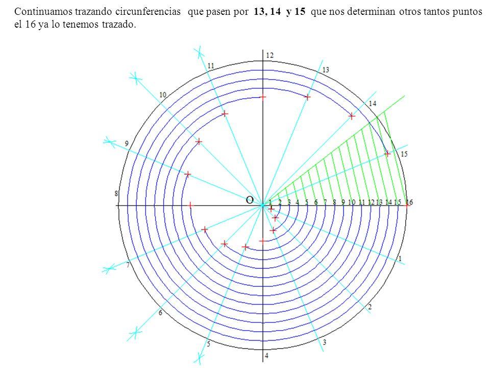 Continuamos trazando circunferencias que pasen por 13, 14 y 15 que nos determinan otros tantos puntos el 16 ya lo tenemos trazado.