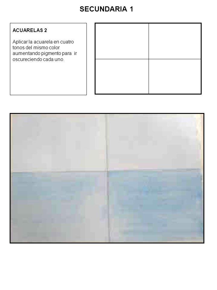 ACUARELAS 2 Aplicar la acuarela en cuatro tonos del mismo color aumentando pigmento para ir oscureciendo cada uno.